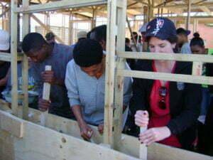 volunteers tamping